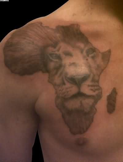 African Lion Face Tattoo On Chest