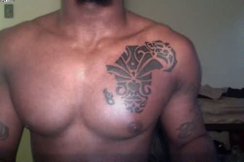 African Map Tattoo On Man Chest
