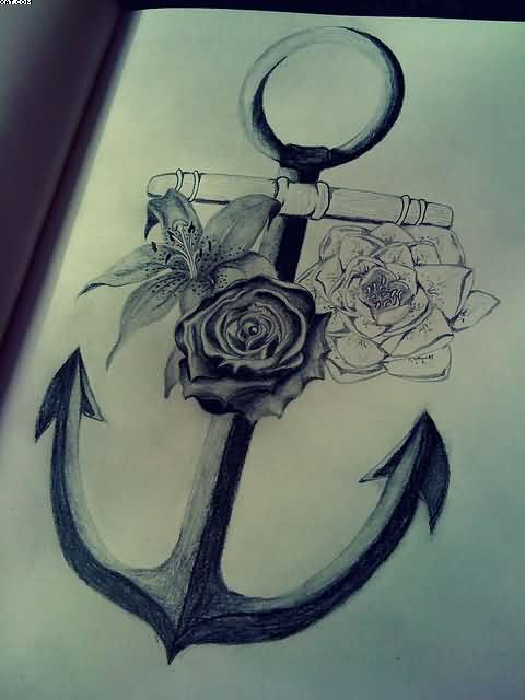 Roses and anchor tattoo drawing page for Anchor with roses tattoo