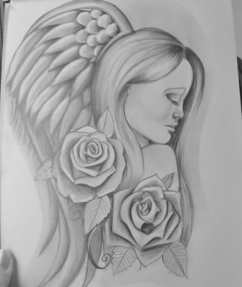 Angel With Roses Tattoo Drawing Page