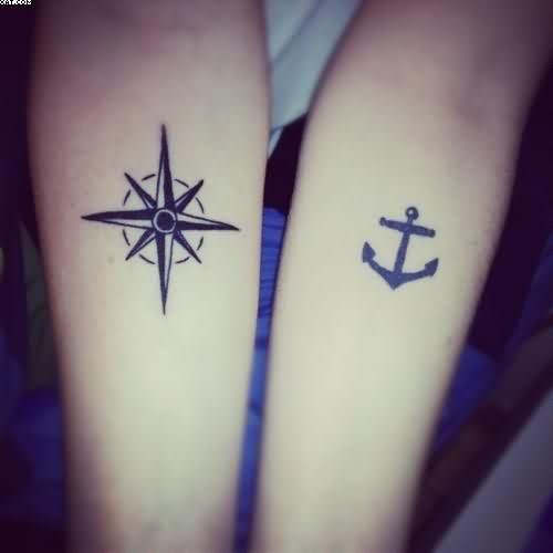 Small ship wheel and anchor tattoos on forearms for Anchor and wheel tattoo
