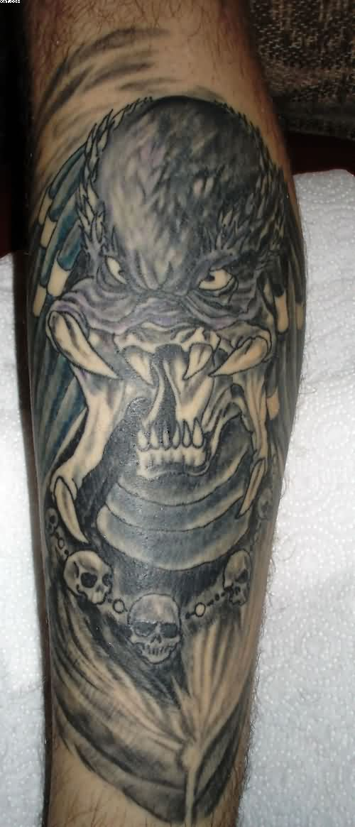 Evil Alien Skull Tattoos With Grey Ink