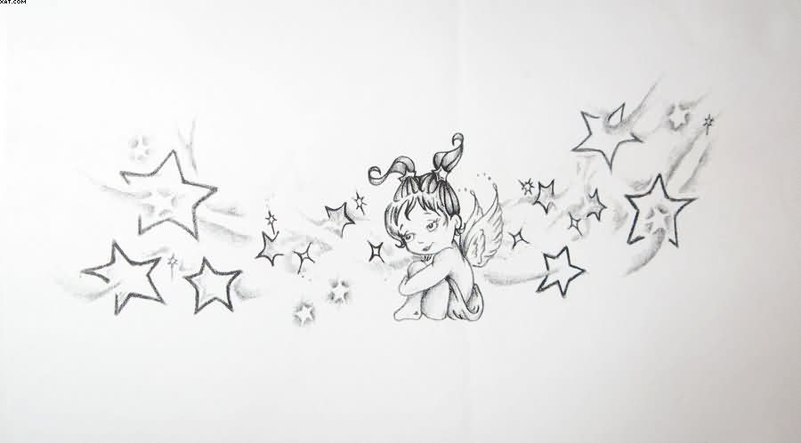 Cute Baby Angel Tattoo With Stars