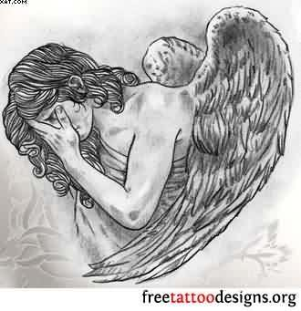 Free Grey Ink Sad Angel Tattoo Design | Tattooshunter.com