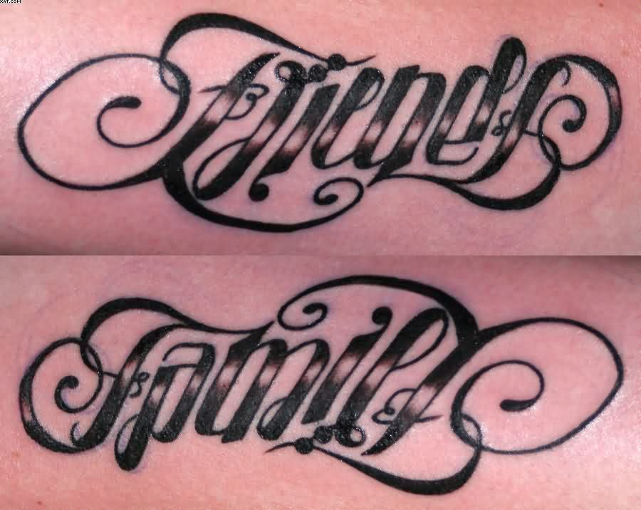 Cool friends family ambigram words tattoos tattooshunter friends family ambigram tattoo desings publicscrutiny Choice Image