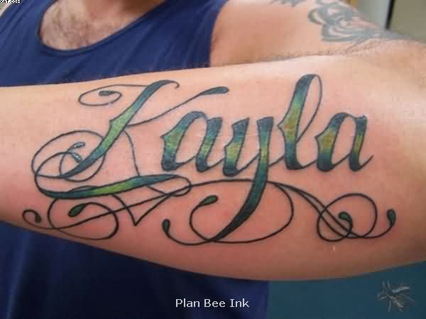 Amazing Arm Tattoo Of Kayla Text Tattooshunter