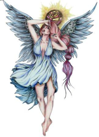 new colorful angel tattoo stencil. Black Bedroom Furniture Sets. Home Design Ideas
