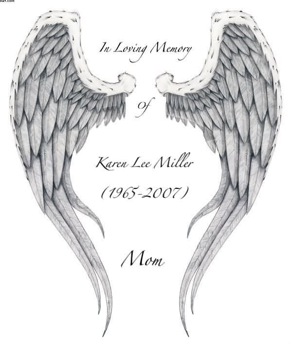 latest memorial angel wings tattoo stencil. Black Bedroom Furniture Sets. Home Design Ideas