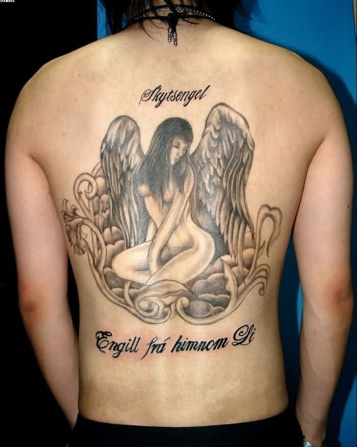 5a16eb19450ab Big Grey Ink Pin Up Angel Tattoo On The Back