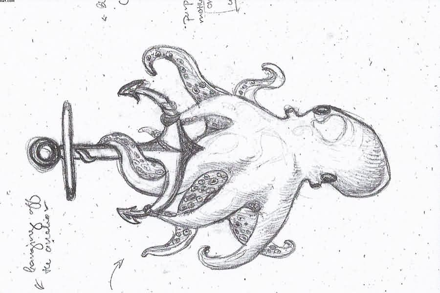 Anchor Octopus Drawing Again Sea Octopus Anchor