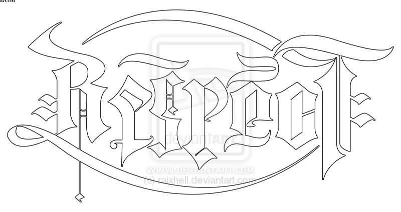 outline respect ambigram tattoo sample. Black Bedroom Furniture Sets. Home Design Ideas