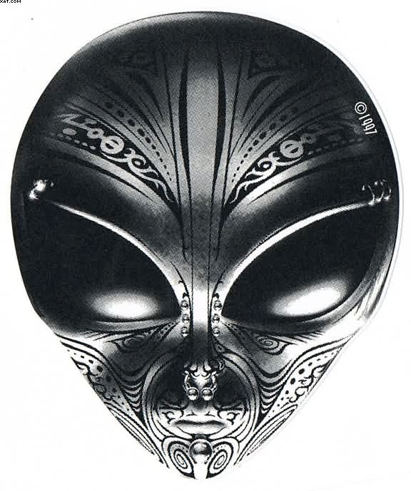 new polynesian style alien face tattoo design. Black Bedroom Furniture Sets. Home Design Ideas