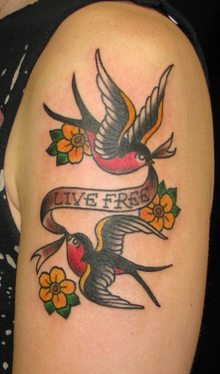 A Sailor Jerry Tattoo Design Of Two Sparrows Carrying A Banner That Reads Live Free