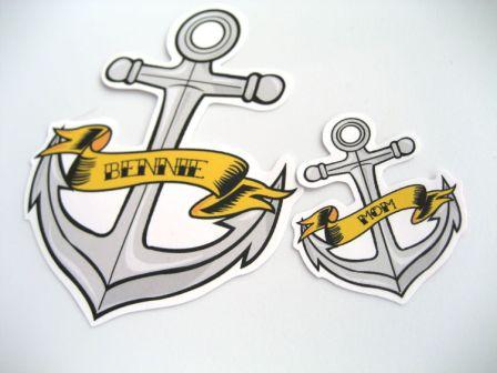 Anchor Tattoo Designs With Yellow Banner