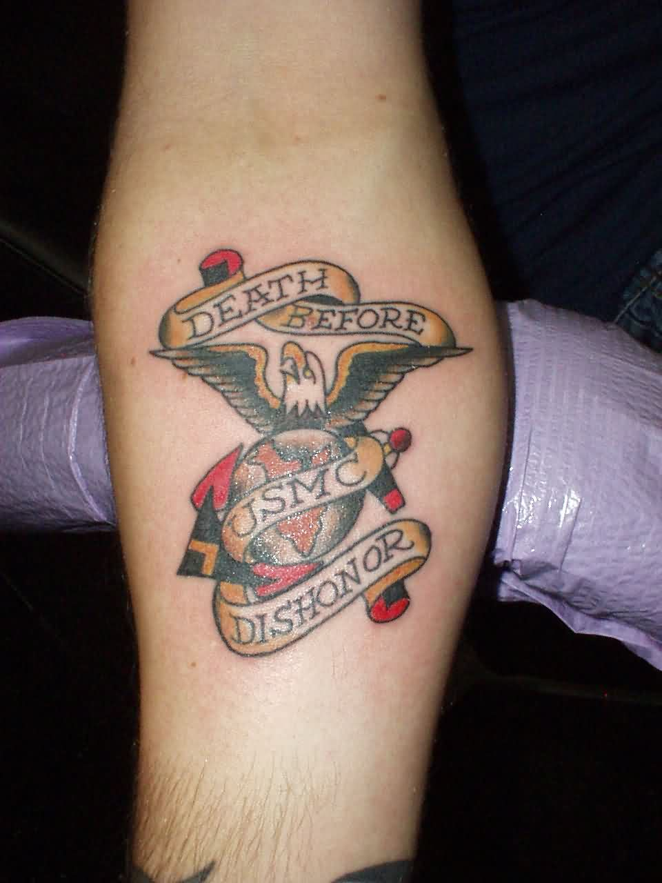 Anchor Tattoo With Banner Eagle & Globe