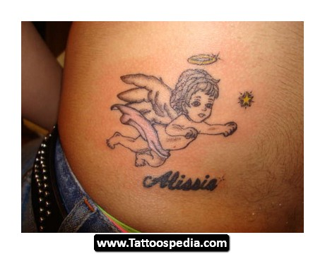 Angel Baby Flying Tattoo Design