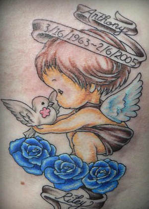 Angel Baby With Bird & Roses Tattoo