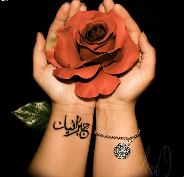 Left Wrist Arabic Tattoo And Red Rose
