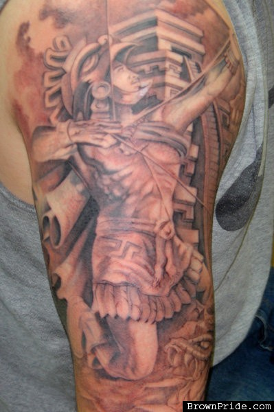 Mexican Aztec Warrior Half Sleeve Tattoos | Tattooshunter.com