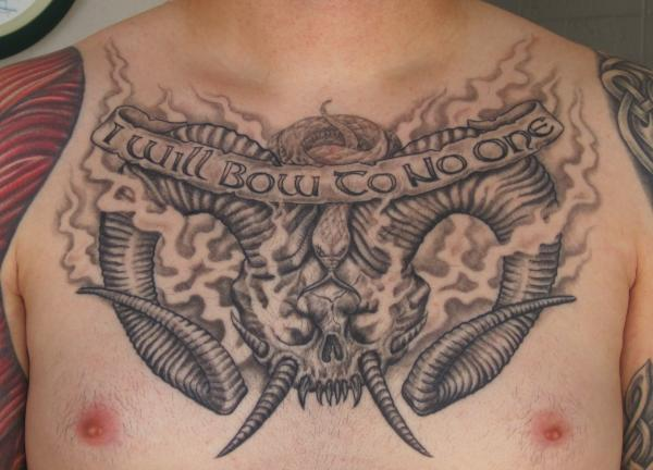 Aries With Banner Tattoo On Chest