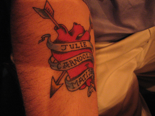 Arrow Heart With Name Banner Tattoo