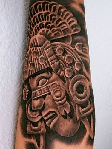 Ancient Aztec Tattoo On Forearm