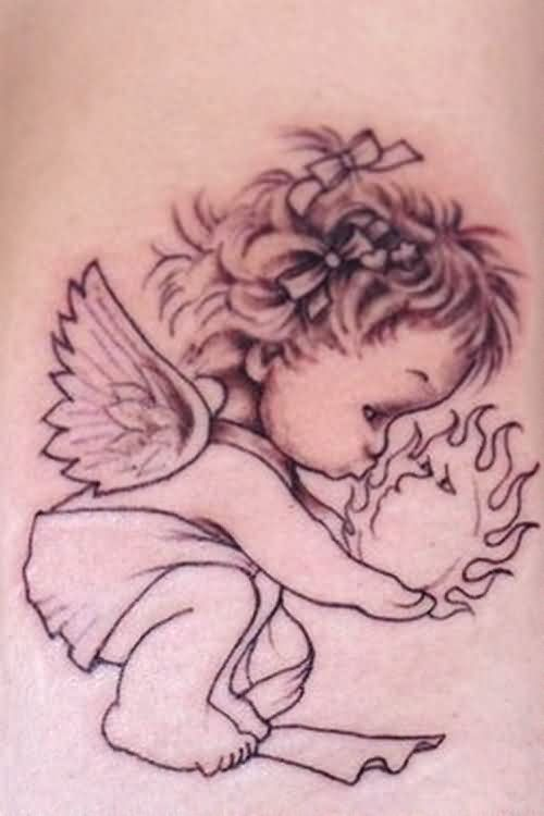 Baby Angels Kissing Tattoo Design