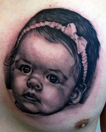Baby Girl Portrait Tattoo For Chest