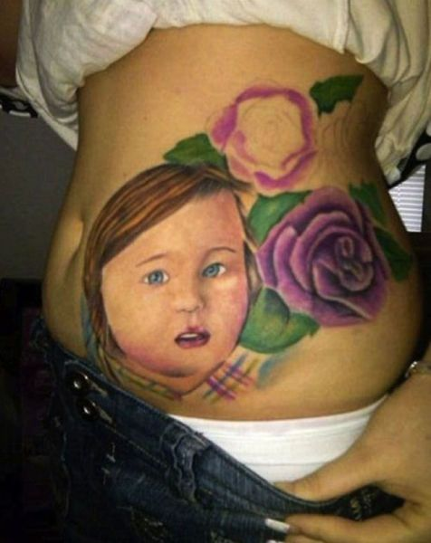 Baby Girl Tattoo With Flowers On Rib Side