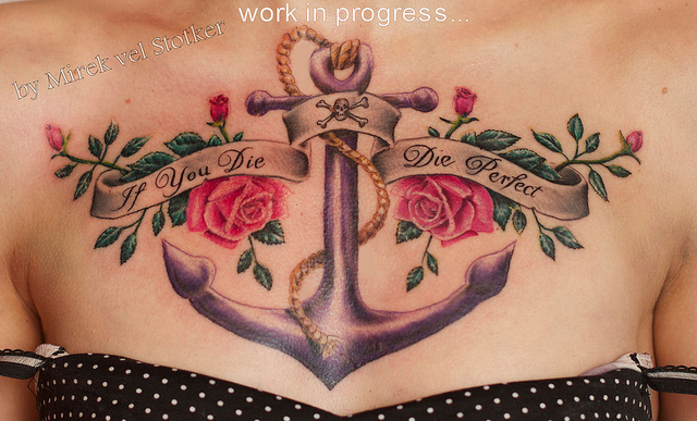 Banner Anchor & Roses Tattoo On Chest