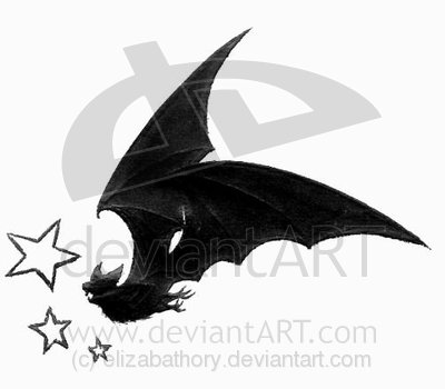 Black Outline Bat Tattoo Sample