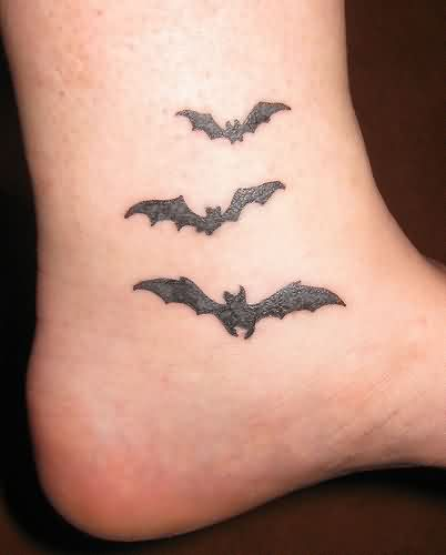 Bats Tattoo Design On Ankle