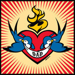 Birds With Red Dad Banner & Heart Tattoo Design