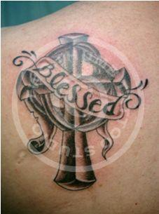 Blessed Cross Banner Tattoo Design