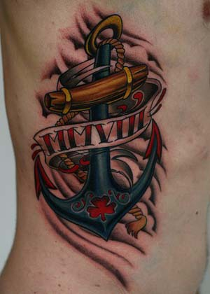 Colorful Anchor With Banner Tattoo