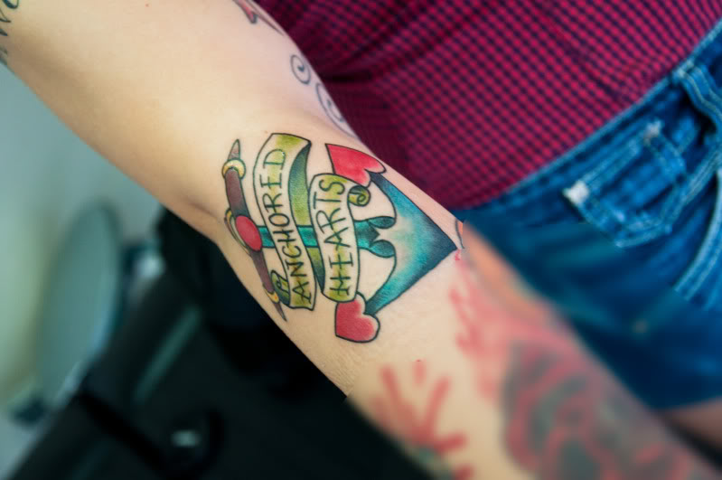 Colorful Arm Anchor Tattoo With Banner