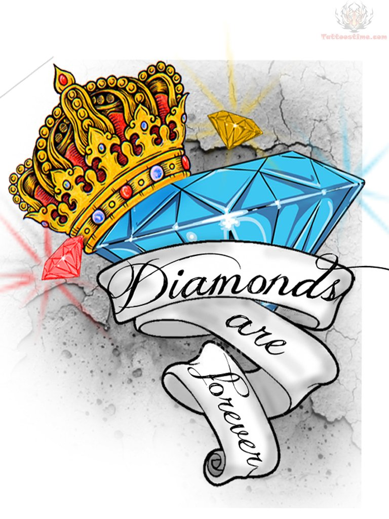 Crown Diamond & Banner Tattoo Design