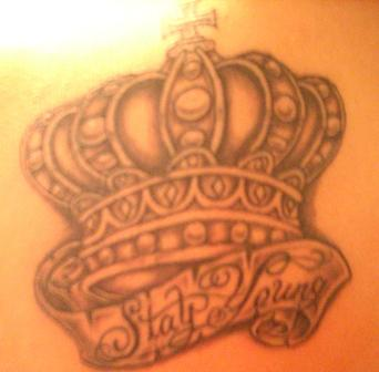Crown With Stay Young Banner Tattoo Design