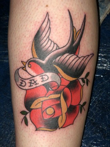 Dad Banner Tattoo With Swallow & Rose