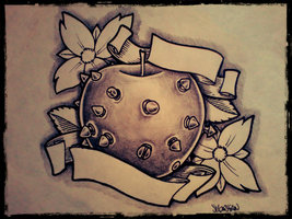 Dark Apple Tattoo Design With Flowers & Banners