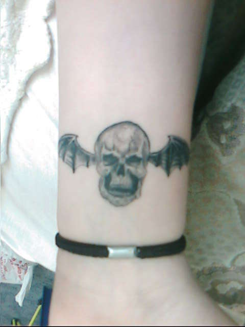 Deathbat Tattoo On Wrist