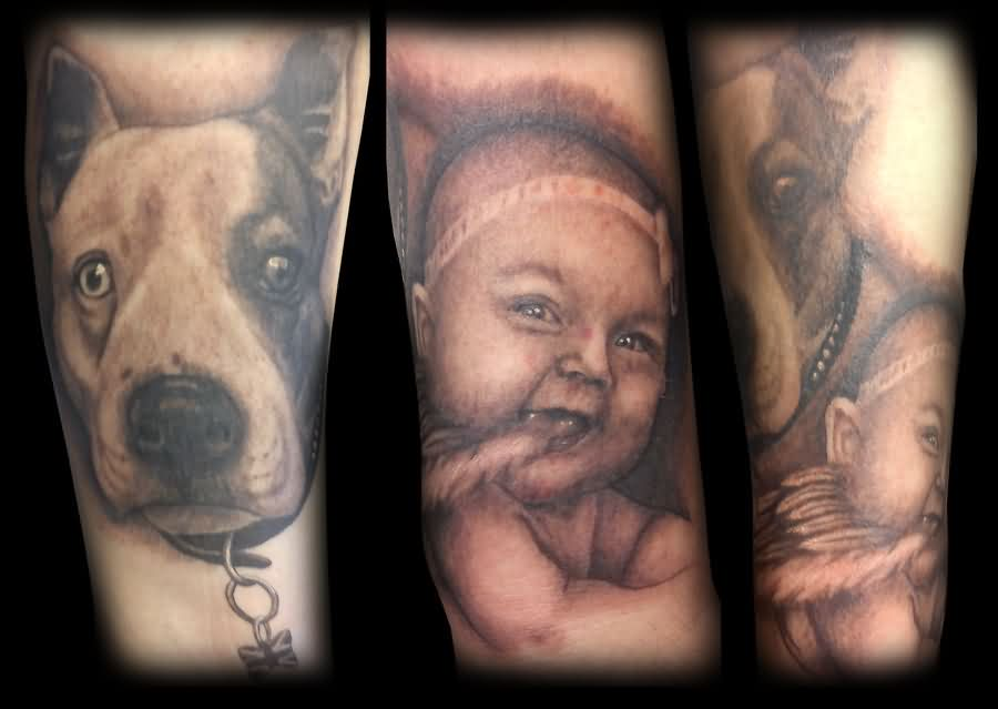 Dog & Baby Portrait Tattoo Design