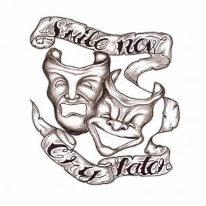 Evil Mask With Banner Tattoo Design
