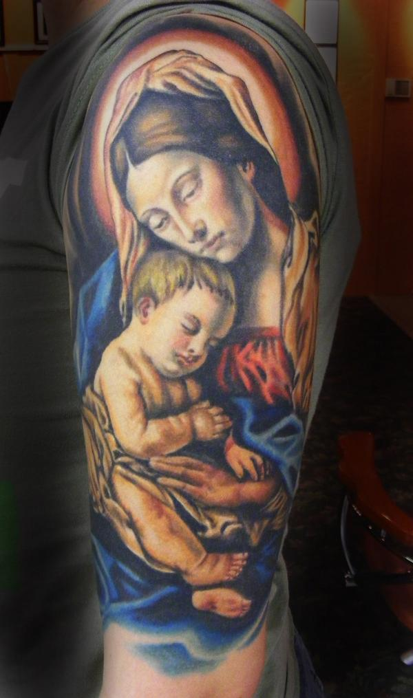 Half Sleeve Mother & Baby Tattoo Design