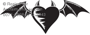 Heart Bat Wings Tattoo Design