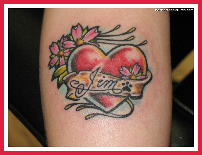 Heart With Kid Name Banner Tattoo Design