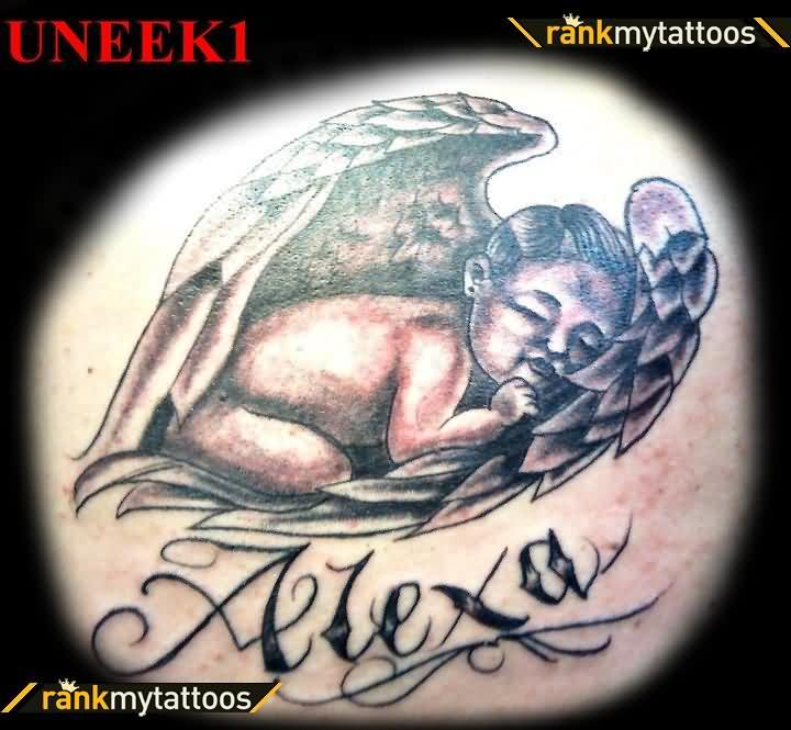 Little Baby Sleeping In Wings Tattoo Design