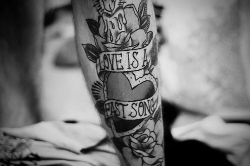 Love Is A Fast Song Vintage Banner Tattoo