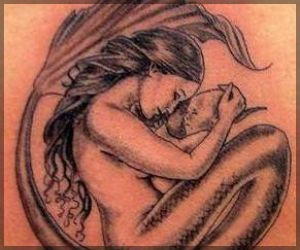 Mermaid And Baby Tattoo