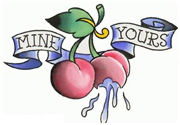 Mine Yours Banner With Cherries Tattoo Design